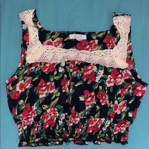NWOT dELiA*s Floral Tank Crop Top Small